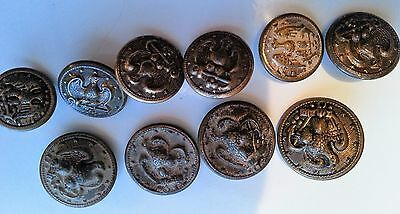 10 Military Buttons Large 7/8 & Small 3/4 inch