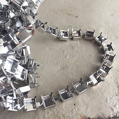 10m Large Rhinestone Cupchain Blank Silver Plated (8mm opening)
