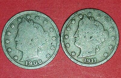 1906 And 1911 Liberty Nickels  ID #11-45,97