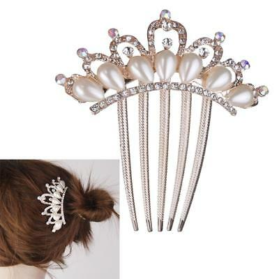 Crystal Rhinestone Pearl Crown Hair Comb Clip Party Wedding Bridal Hair Pin