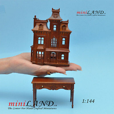 Victorian DOLLHOUSE FOR DOLLHOUSE WITH TABLE walnut 1:144 wood Top quality Back