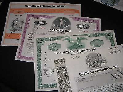 Lot Of( 4 ) Vintage Stock Certificates