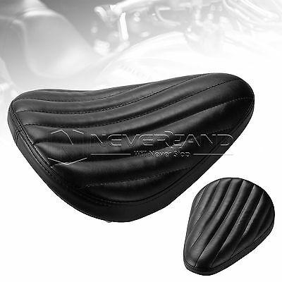 Ribbed Leather Solo Driver Seat For Harley Sportster Dyna1200 XL Black Universal