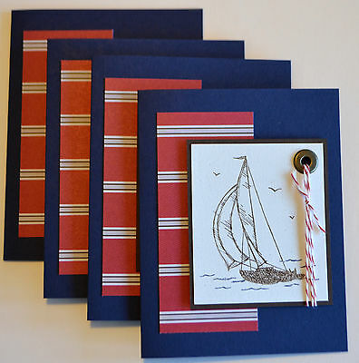 Set of 4 handmade SAILBOAT Nautical note cards / any occasion ~uses Stampin Up