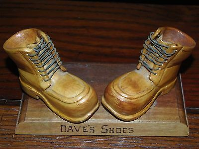 """Carved wooden boots shoes """"DAVE"""" with laces"""
