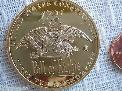 """2nd Amendment """"Right to Bear Arms"""" Bill of Rights 24k layered Gold Coin 1791 NEW"""