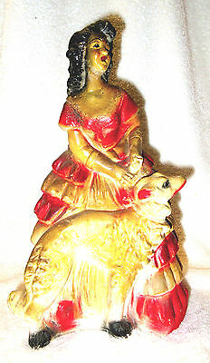 Vintage Art Deco Chalkware 1930's Carnival Prize, Lady and Borzoi/Wolfhound Dog