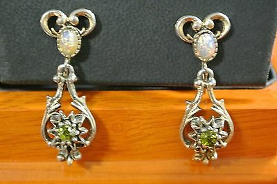 Vintage Signed Sarah Coventry 1974 Contessa Faux Opal Rhinestone Earrings Dangle