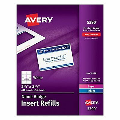 Avery Name Badge Inserts, 2.25 x 3.5 Inches, Box of 400 (05390)...