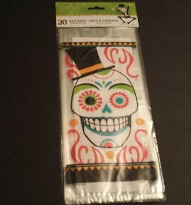 20 Day of the Dead Cello Bags Clear Plastic Party Sugar Skull Halloween