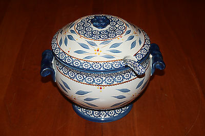Temp-tations by Tara Old World Blue 3 Quart Soup Tureen with Lid and Ladle EUC