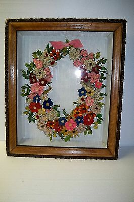 Antique Large Victorian Mourning Shadow Box Frame  Flower Wreath