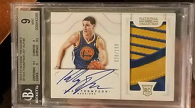 12-13 National Treasures Klay Thompson Rc Jersey Logo Patch /199 Bgs 9 10 Nba