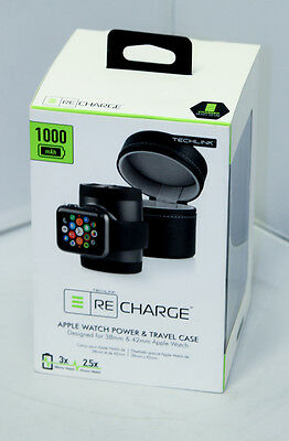 Techlink Recharge 527091 Apple Watch Power Charger & Travel Case Black
