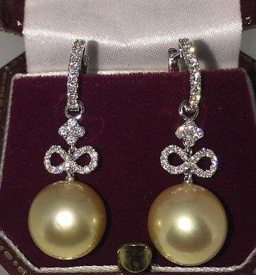 Gold South Sea Pearl and Diamond Pendant Earrings in 18K White Gold