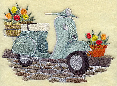 Embroidered Scooter & flowers quilt block,bike fabric,cushion panel,vespa