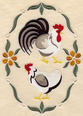 Embroidered Country chickens quilt block,sewing,chicken fabric,cushion panel,