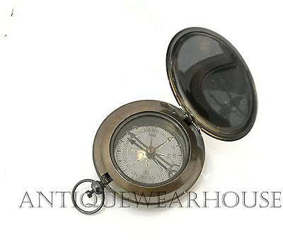 Vintage Nautical Solid Brass Navigation Push Button Compass Maritime Pocket Gift
