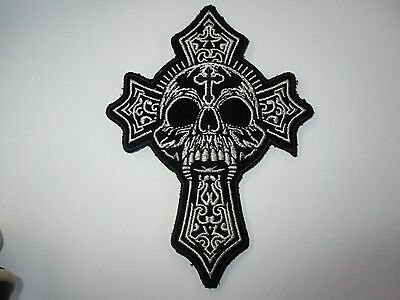 Celtic Cross with skull Patch - Sew/iron on rider biker motorcycle Men's shed