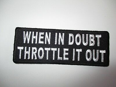 When in doubt....Embroidered Patch Sew/Iron Rider biker Motorcycle vest
