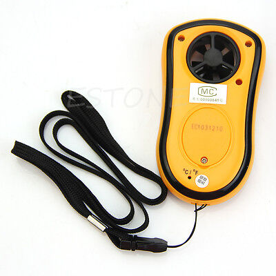 LCD Wind Speed Gauge Meter Anemometer NTC Thermometer B New