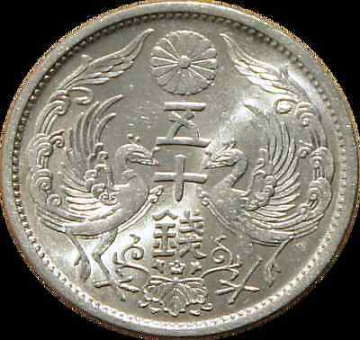 50 SEN Year 9 (1934) Great JAPAN Phoenix Dai Nippon Japón MS Hirohito Showa Ag