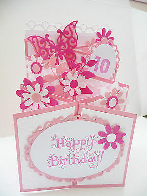 Handmade Cascading Birthday Card Personalised 18 40 21 10 Pop Up 3D Any Age
