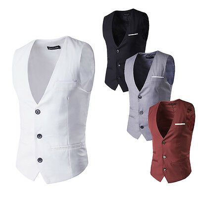 Mens Formal Wedding Party Waistcoat Casual Chest Dinner Suit Business Vest New