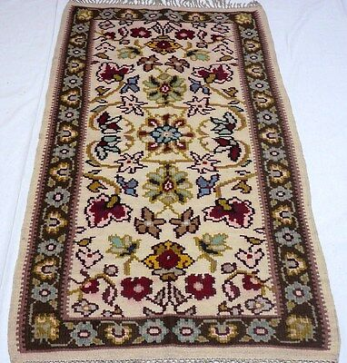 """Antique European vintage unique handmade hand-knotted rug 32""""x 63"""" 100%wool #120"""
