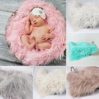 Soft Faux Fur Blanket Basket Newborn Baby Photography Props Backdrop Outfits GN