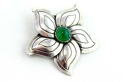 A mid century Swedish silver & green floral brooch. Modernist 1950's 'ASA' mark