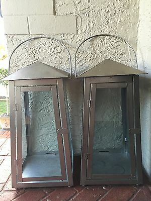 Pair 2 Silver Glass French English Outdoor Lanterns Candle Steel/aluminium Light