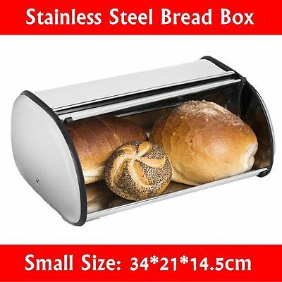 Vintage Stainless Steel Bread Box Kitchen Storage Bin Metal Small Container Top