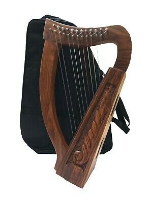 Irish Harp 12 Strings, Sheesham Wood + Free Carry Bag & Tunning key
