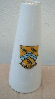 """Tall (4.5"""") Crested China Tall Cone Shaped Vase. WH Goss. Cromer Crest. Crinkled"""