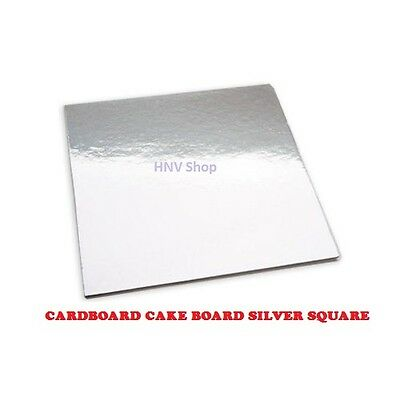 "Cardboard Cake Board Silver Square 10"" 11"" 12"" 13"" 14"" 15"" 16"" inch Single"