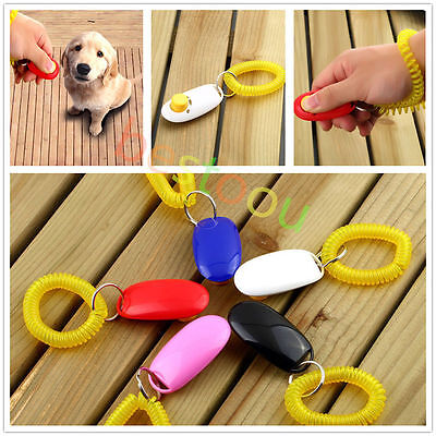Dog&Cat Pet Click Clicker Training Obedience Agility Trainer Aid Wrist Strap MS