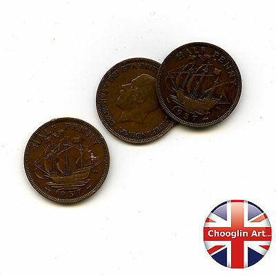Collection of x3 1937 British Bronze GEORGE VI HALFPENNY Coins