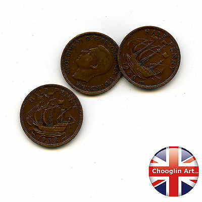 Collection of x3 1938 British Bronze GEORGE VI HALFPENNY Coins