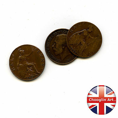 Collection of x3 1921 British Bronze GEORGE V HALFPENNY Coins