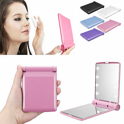 Compact Pocket Mirror with 8 LED Lights Lamps Makeup Portable Folding Cosmetic
