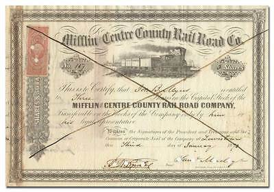 Mifflin and Centre Country Rail Road Company Stock Certificate