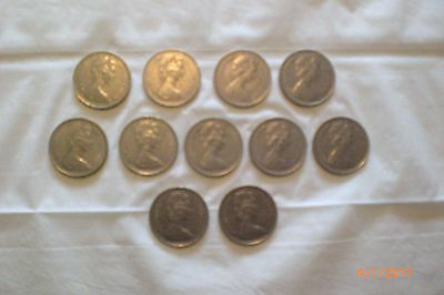 11 X OLD DECIMAL LARGE 10p PENCE COINS 1968/69/70/71 - 73/74/75/76/77 - 79/80