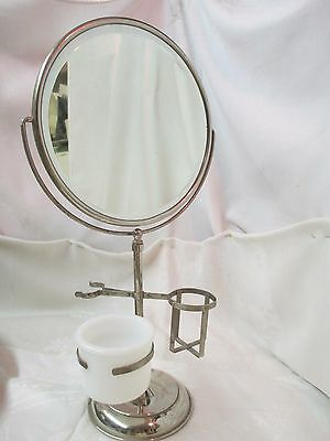 Vintage 1940's Shaving stand with tilt Mirror Acme Cup & Holders for Brush other