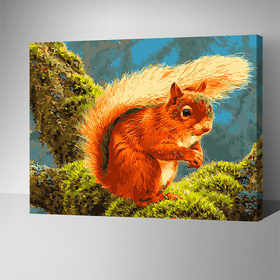 Framed Painting by Number kit The Squirrel On The Tree Little Animal DIY YZ7570