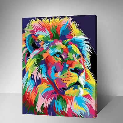 Framed Painting by Number kit Color Lion The King of Beasts Animal DIY YZ7474