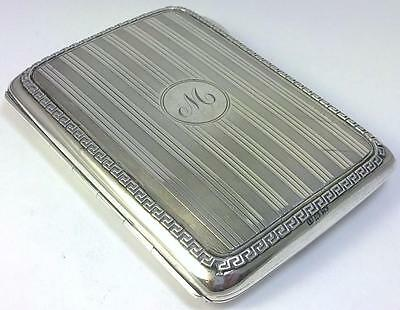 Antique hallmarked Sterling Silver Card Case with Leather Interior – 1915 (149g)