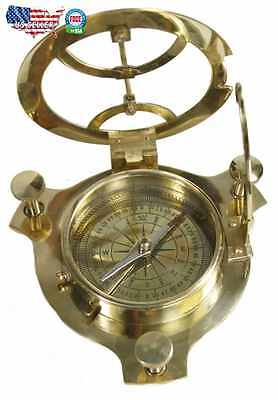 Antique Decor 4 Inch Vintage Sundial Compass Maritime Nautical Brass Outdoor Old