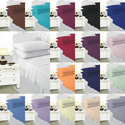 FITTED SHEETS 68 Pick Polycotton Plain Dyed Bed Sheets Or Matching Pillowcases