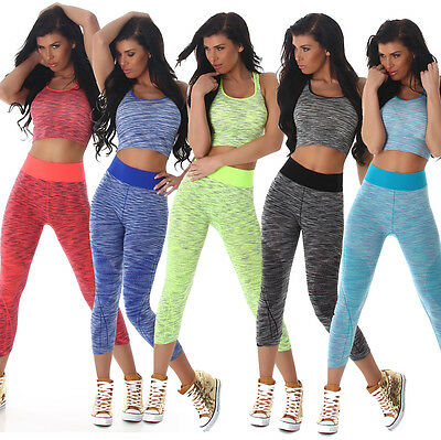 Damen Sport Set Crop Top Funktions Hose Leggings Jogging Fitness Jersey 34 36